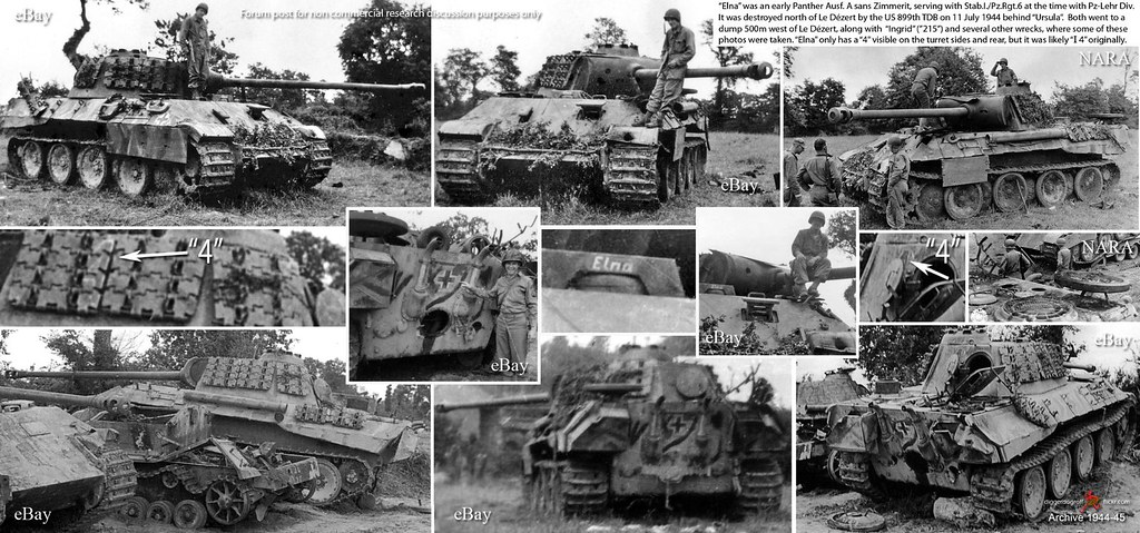 "Panther ""4"", aka ""Elna"", of Stab I/Pz.Rgt.6 served with Panzer-Lehr Division, knocked out near Le Dézert, Normandie on 11 July 1944"