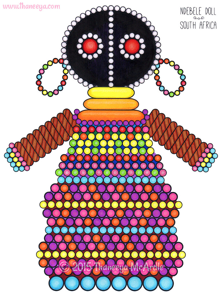 Ndebele Doll Coloring Page Art By Thaneeya Mcardle Flickr