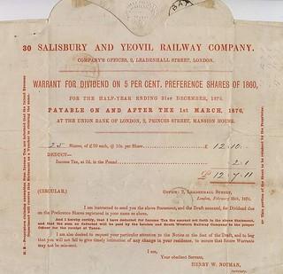 Salisbury & Yeovil Rly Div warrent 18-49-40-505 | by ian.dinmore