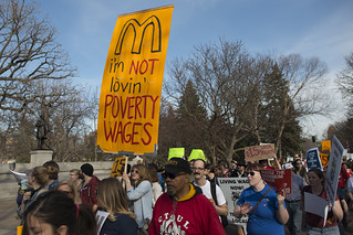 Fast food strike and protest for a $15/hour minimum wage at the University of Minnesota | by Fibonacci Blue