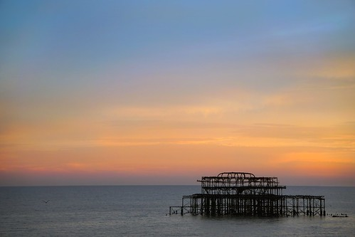 pier brighton old sunset sun blue orange night evening a6000 sony camera fire sea seascape over