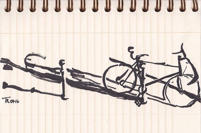 A drawing does not need  to be perfect: bicycle from my balcony just before the shadows disappeared. Malasaña, Madrid