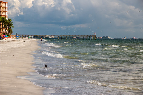 sea sky beach gulfofmexico water clouds pier sand surf waves usflag
