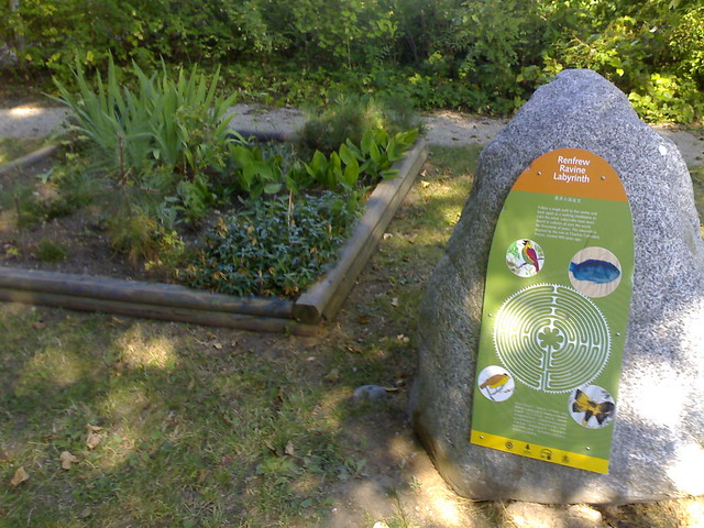 Garden and Plaque Explaining Renfrew Ravine Labyrinth