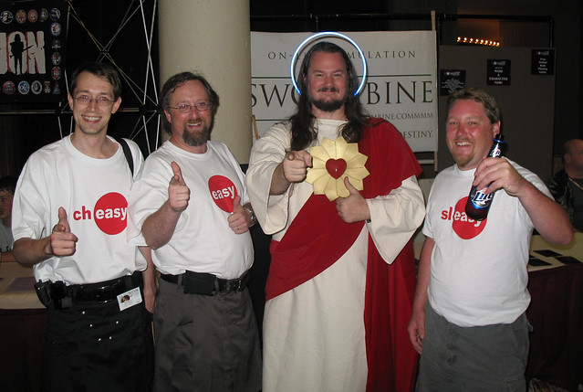 Easy, Sleasy and Cheasy hang out with Buddy Christ