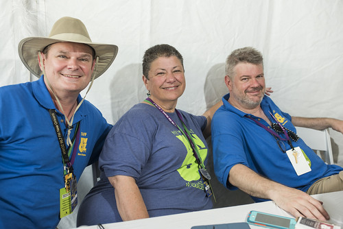 Louis Dudoussat, Beth Arroyo Utterback, and Dave Ankers on Jazz Fest day 4 on May 3, 2018. Photo by Ryan Hodgson-Rigsbee RHRphoto.com