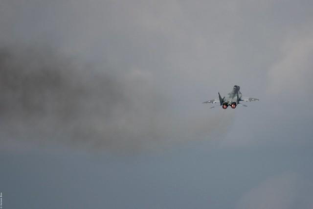 Smoking Slovak Air Force MiG-29AS '6425' at Kleine-Brogel, Belgian Air Force Days 2014