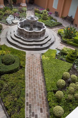 Garden, courtyard at The Amparo Museum, Puebla, Mexico