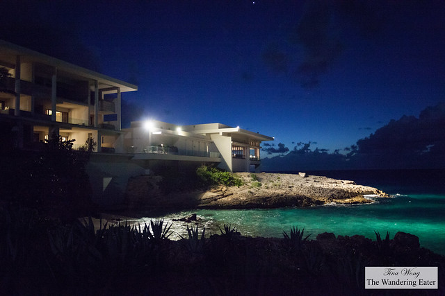 Night view of the private villa with an ocean view (of Meads Bay)