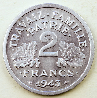 Coin photography - 1943 France 2 Francs