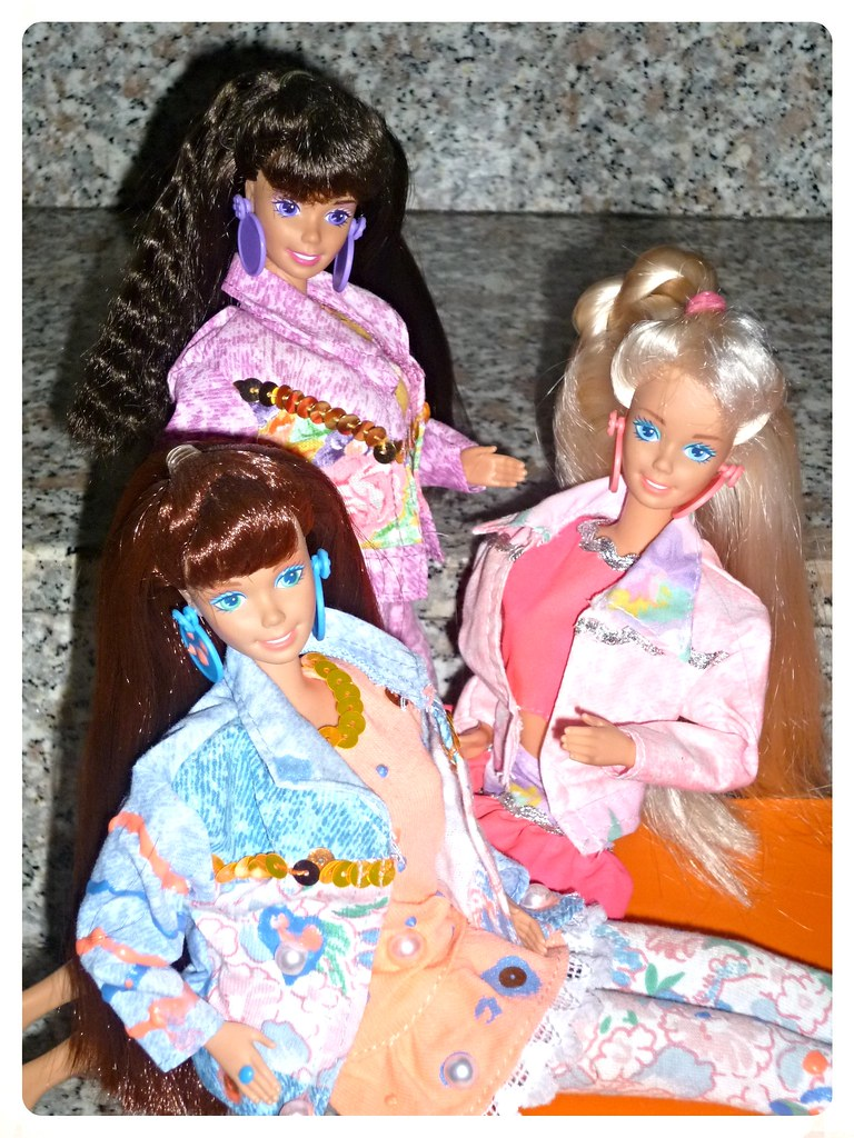 1992 paint n dazzle barbie redhead brunette blonde by patty is totally
