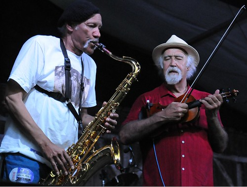 BeauSoleil, Charles Neville, Michael Doucet at Jazz Fest. Photo by Black Mold.