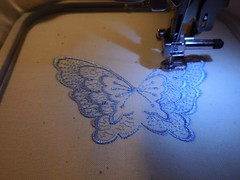 Embroidering Blue Butterfly
