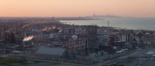 BP Whiting Refinery, Downtown Chicago | by metroblossom