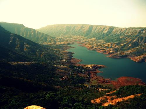sunset mountain river landscape crossprocess mahabaleswar