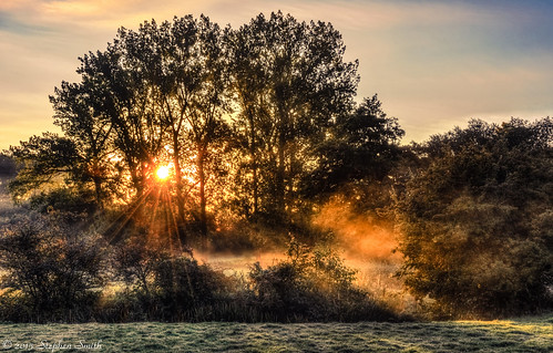 2015 geddington newton northamptonshire eastmidlands england english uk d7200 hdr tonemapped landscape countryside rural nature natural dawn sunrise earlymorning mist misty sunlight october autumn tree trees riverise riverisevalley frost chilly colour warm cool red blue tranquil peaceful beauty backlighting contrejour