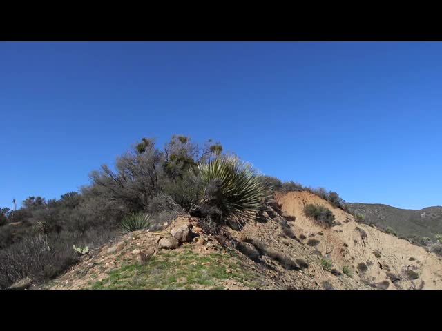 1262 Panorama video from the narrow crest between Burn Valley and Horse Canyon near Lookout Mtn on the PCT