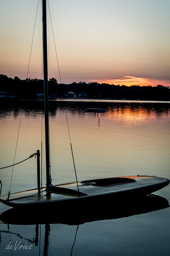 sunset summer sky orange reflection mi boat fishing wind bass dusk calm westlake sail july2016