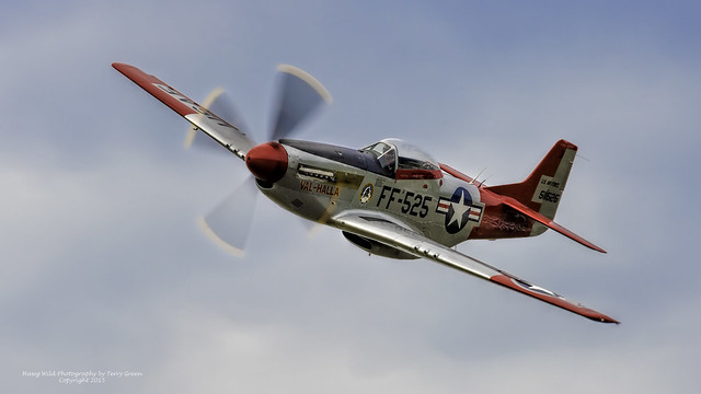 """Alan Anders piloting the Heritage Flight Museum North American Aviation P-51 Mustang """"Val-Halla"""" during one of the museums Fly Days."""