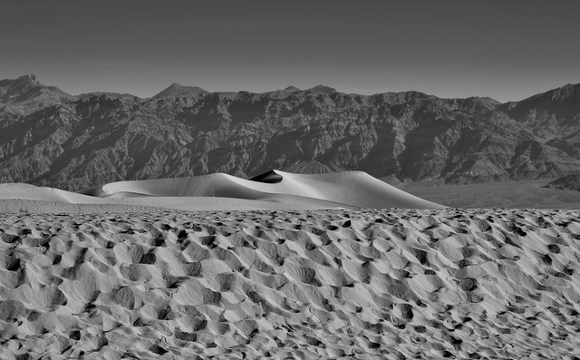 Sand Dunes and Far Off Mountains (Black & White, Death Valley National Park)