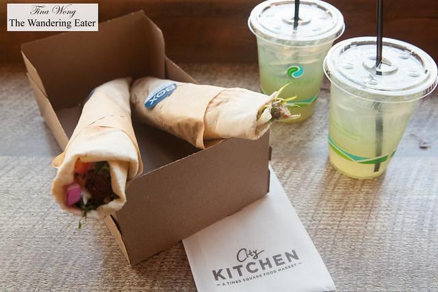 Falafel Beiruti, Duck Shawarma and Green Lemonade at ilili Box
