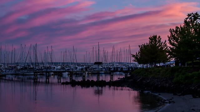 Sunset over Elliott Bay Marina.