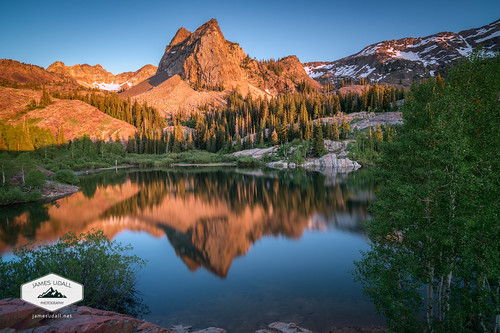 trees sunset mountain lake reflection water evening utah wasatch saltlakecity saltlake bigcottonwoodcanyon sundialpeak lakeblanche