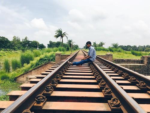 alone sitting railway railbridge shotoniphone