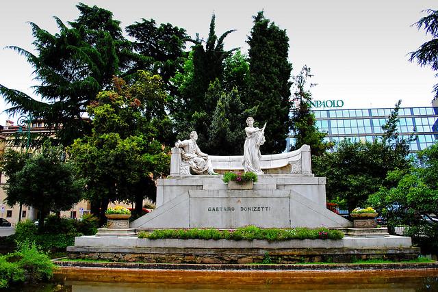 Gaetano Donizetti memorial statue, Bergamo - Italy.
