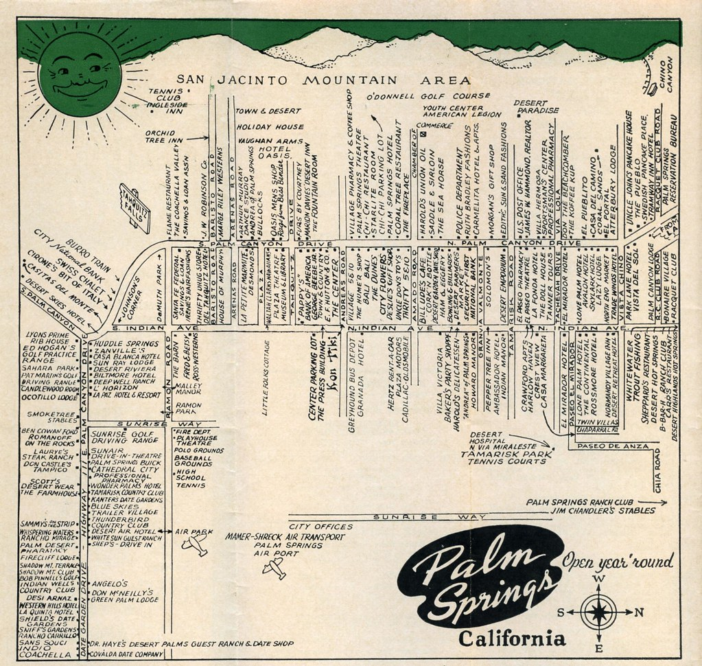 Palm Springs guide downtown map April 1958 | William Bird | Flickr on