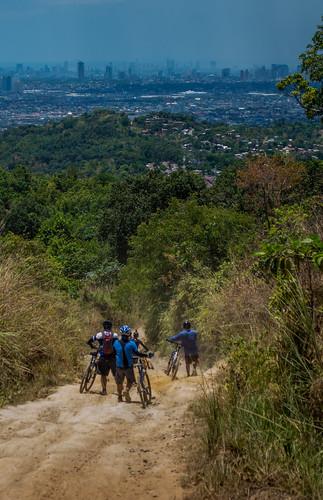 summer mountain ride over trail biking heat slope