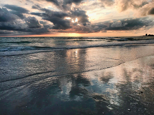 sunset beach water sky blue light ocean sun clouds landscape seascape summer florida siestakey