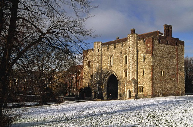 St Albans Abbey Gateway in the snow