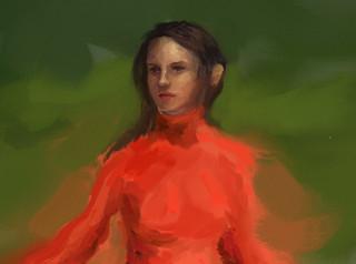 girl in red at forest 13 detail   by eduardobedoya