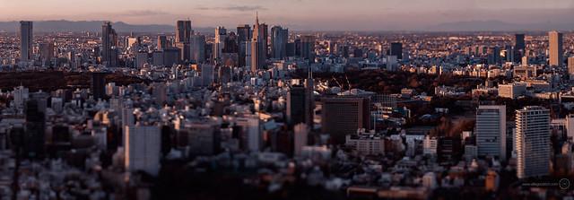 Tilt-shift panorama of Tokyo from Mori Tower