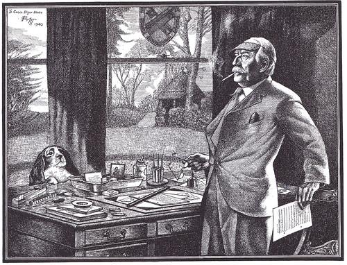 Elgar at his work-table