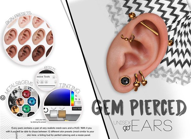 Gem pierced Ears @TresChic Tomorrow!