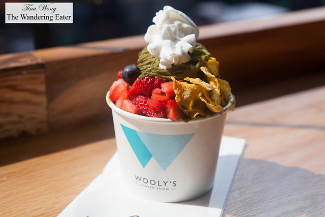 Matcha shaved ice with corn flakes, strawberries, blueberries and whipped cream by Wooly's Shaved Snow