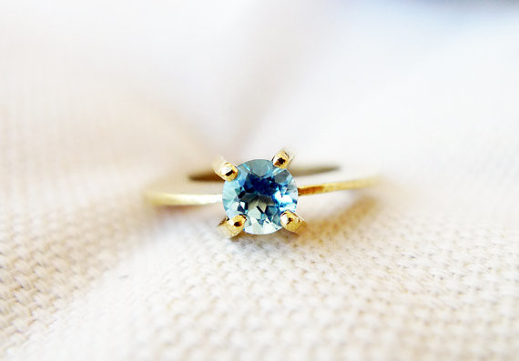 Solitaire. Blue Topaz Engagement Ring. Handmade 14K Unique Gold Ring. Set with Blue Topaz. Statement Solitaire Ring. Cocktail Ring.
