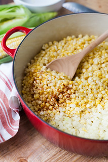 Sautéing the corn and onions | by Striped Spatula