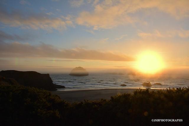 Rock face at sunset