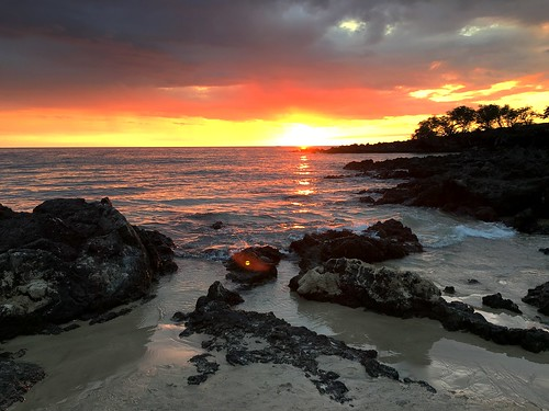 hawaii us bigisland sunset beach iphone peterch51 sea shore seashore hapuna hapunabeach america usa