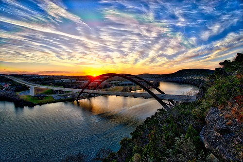 hdr austin sunset bridge water 360 texas tx pennybacker sony a7r clouds sky