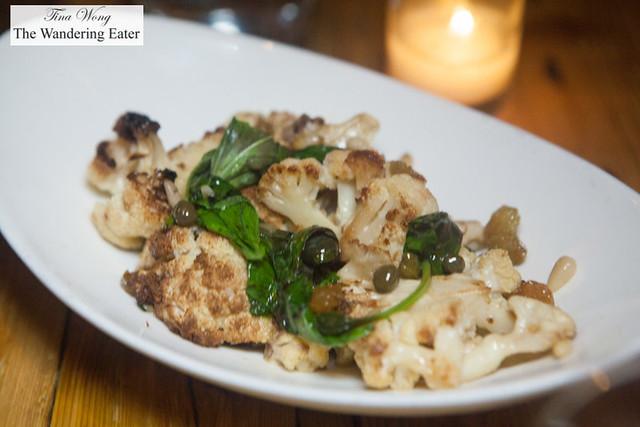 Cauliflower, pine nuts, basil, raisins