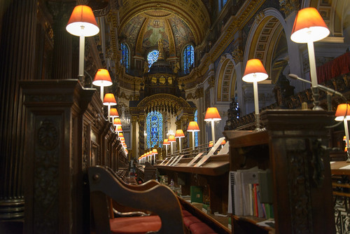 Working cathedral - books and music hidden away
