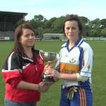 Mallaidh McCann receiving the 2012 U16 Grade 1 Championship trophy