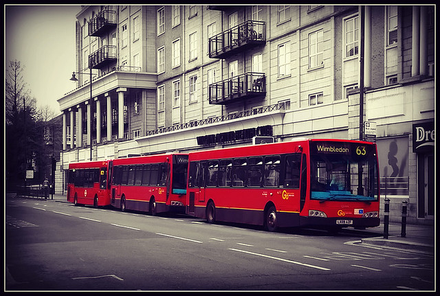 3 little red buses