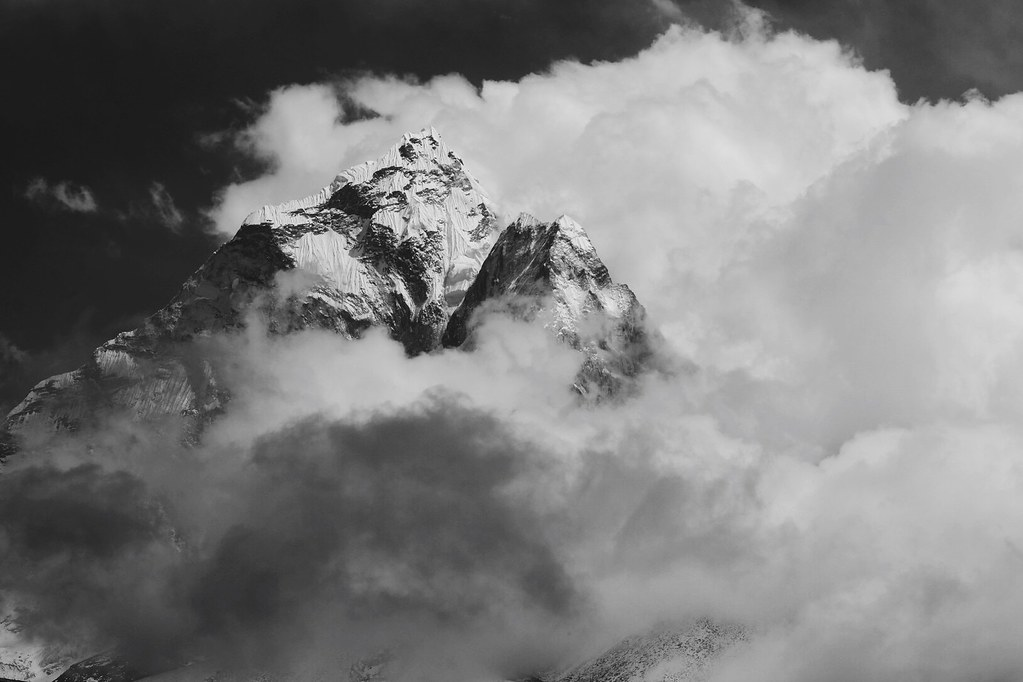 Amadablam enveloped in cloud