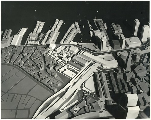 Architectural model of waterfront district looking east   by Boston City Archives