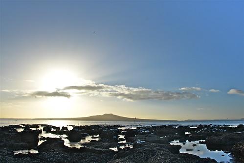 sea newzealand beach nature sunrise rocks northshore northisland tranquil takapuna takapunabeach